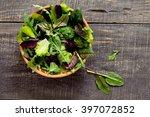fresh green mixed salad in a... | Shutterstock . vector #397072852
