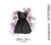 black dress watercolour... | Shutterstock . vector #397072882