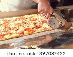 closeup hand of chef baker in... | Shutterstock . vector #397082422