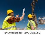 construction workers signaling... | Shutterstock . vector #397088152