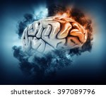 3d render of a brain in storm... | Shutterstock . vector #397089796