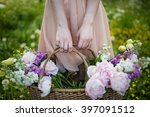 girl holding a basket with... | Shutterstock . vector #397091512