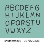hand drawn font design with... | Shutterstock .eps vector #397092238