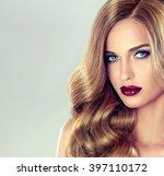 beautiful girl with long wavy... | Shutterstock . vector #397110172