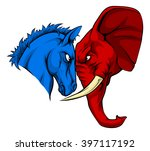 a blue donkey and red elephant... | Shutterstock .eps vector #397117192