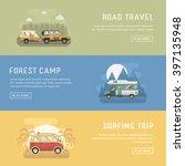 rv camping banners. car summer... | Shutterstock .eps vector #397135948