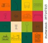 living room interior line... | Shutterstock .eps vector #397147315
