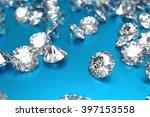 luxury diamonds on blue... | Shutterstock . vector #397153558