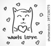 cat need love  nautical poster  ... | Shutterstock .eps vector #397158775
