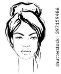 fashion beautiful girl with bun | Shutterstock .eps vector #397159486