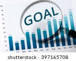 goal word with magnifying glass ... | Shutterstock . vector #397165708