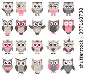 Stock vector cute owls and owlets set 397168738
