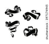 vector set of black ribbon | Shutterstock .eps vector #397174945