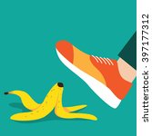 person slipping on a banana... | Shutterstock .eps vector #397177312