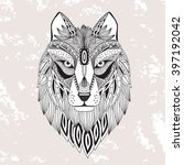 vector illustration of the wolf ... | Shutterstock .eps vector #397192042