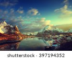 snow in reine village  lofoten... | Shutterstock . vector #397194352
