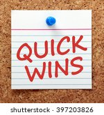 the words quick wins in red...   Shutterstock . vector #397203826