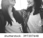 sister friendship affectionate... | Shutterstock . vector #397207648