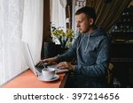 young hipster guy texting with...   Shutterstock . vector #397214656