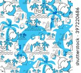 seamless pattern with dolphins... | Shutterstock .eps vector #397220686