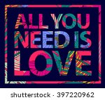 vector colorful tropical quote... | Shutterstock .eps vector #397220962