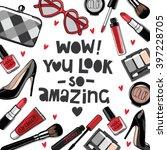 hand drawn fashion set.... | Shutterstock .eps vector #397228705
