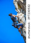 extreme sport. the rock climber ... | Shutterstock . vector #397230532