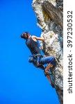 extreme sport. the rock climber ...   Shutterstock . vector #397230532