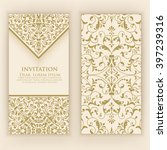 invitation or wedding card with ... | Shutterstock .eps vector #397239316