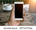 man's hand shows mobile...   Shutterstock . vector #397247566