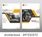 yellow annual report brochure... | Shutterstock .eps vector #397252372