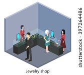isometric interior of jewelry... | Shutterstock .eps vector #397264486