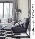 black armchair with geometric...   Shutterstock . vector #397265752