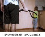 aggressive parent with belt and ... | Shutterstock . vector #397265815