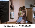 woman covering her child from... | Shutterstock . vector #397267672