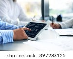 business person analyzing... | Shutterstock . vector #397283125