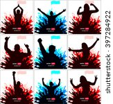 posters with cheering people   Shutterstock .eps vector #397284922
