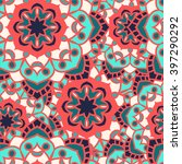seamless round ornament pattern.... | Shutterstock .eps vector #397290292