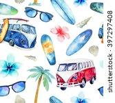 Watercolor Beach  Adventure  ...