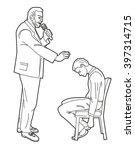 hypnotist hypnotizes man. black ... | Shutterstock .eps vector #397314715