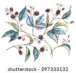 hand drawn watercolor... | Shutterstock . vector #397333132