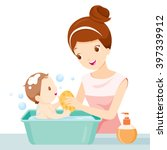 mother washing baby  bathing ...