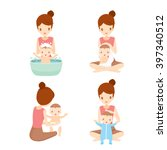 mother washing baby set ... | Shutterstock .eps vector #397340512