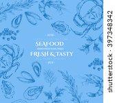 vector sea food drawing... | Shutterstock .eps vector #397348342