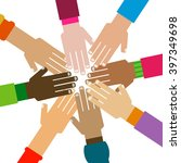 diversity hands together... | Shutterstock .eps vector #397349698