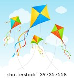 Fly Kite And Clouds On A Blue...