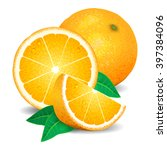 fresh oranges fruit  pieces of... | Shutterstock .eps vector #397384096
