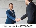businessmen handshaking after... | Shutterstock . vector #397385425