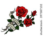 vector tattoo red roses | Shutterstock .eps vector #397387132