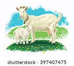 goat with kid on a meadow and... | Shutterstock .eps vector #397407475